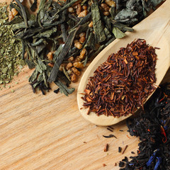 Herbal tea collection on wooden background