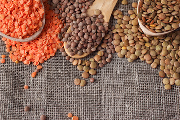 Lentils on linen sackcloth