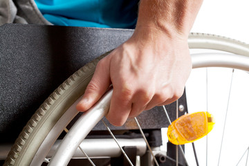 Closeup of a wheelchair