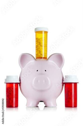 Piggy bank with medicine