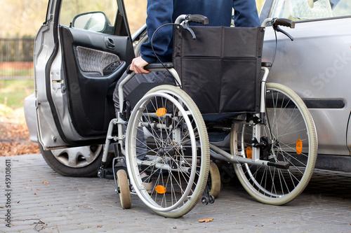 Car driver on wheelchair