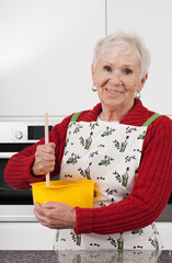 Grandma baking cake