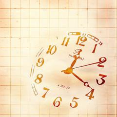 古紙に描いた時計