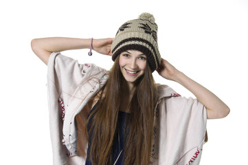 girl in the hat in casuals posing