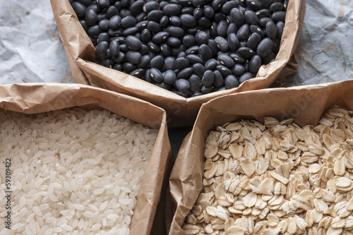 Grains and legumes.