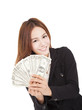 happy businesswoman holding the money
