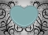 Beautiful heart shape tattoo art pattern on a gray background