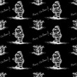 black seamless pattern santa claus