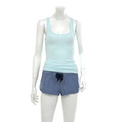 female mannequin blue t-shirt dressed in shorts trousers