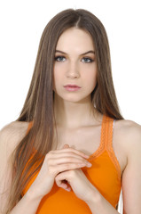 sexy girl in orange t-shirt with long hair