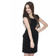 Fashion girl posing in black dress standing on white background