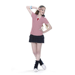young girl in leisure clothing in walking in studio