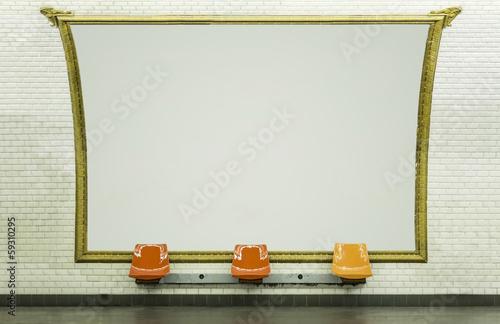 Blank billboard in subway station - 59310295