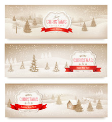 Three christmas holiday landscape banners. Vector.