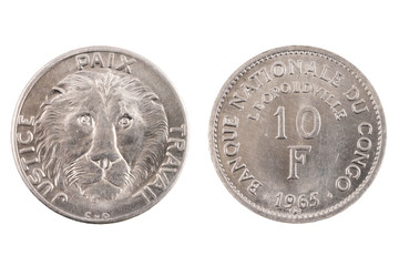 Isolated Belgian Congo 10 Franc Coin