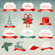 Big collection of Christmas icons and design elements. Vector il