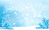 Blue Christmas background with tree branches and snowflakes. Vec