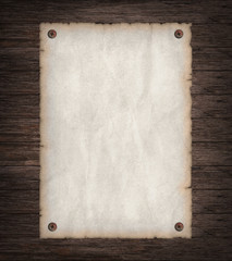 Empty Wild West wanted poster on old wooden wall