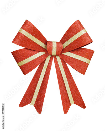 Red and Gold Christmas Bow; isolated