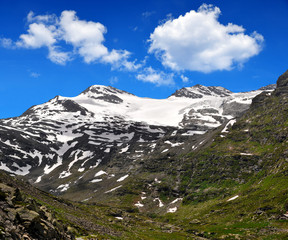 View on the Monte Moro pass in Swiss Alps