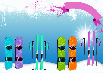 Ski and snowboard background