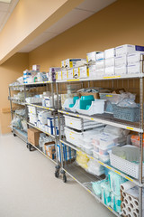 Hospital Supplies Arranged On Trollies