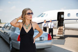 Wealthy Woman In Elegant Dress At Terminal poster