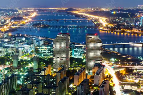Poster Seoul skyline at night
