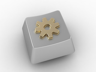 Keyboard Button with golden gear sign