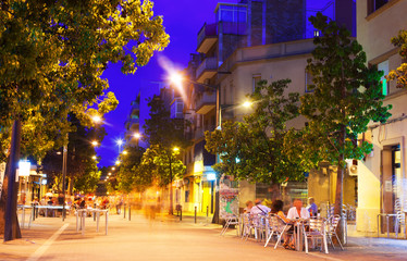 Pedestrian street of European city at night