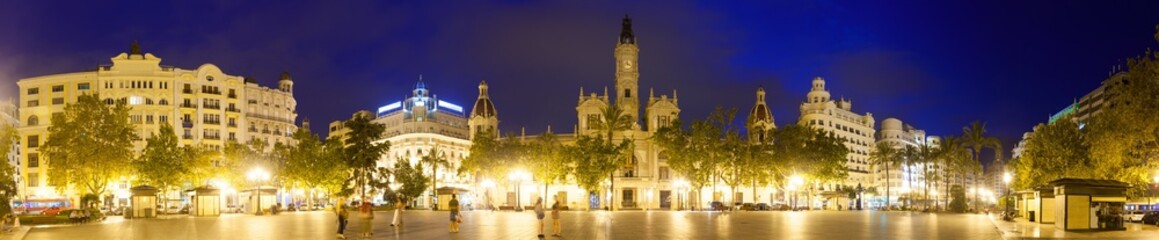 Panorama of  Placa del Ajuntament  in evening. Valencia