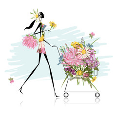 Woman with floral trolley for your design