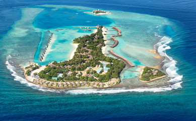 Maldives sea island from air