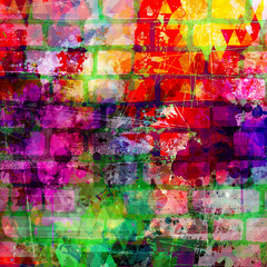Grunge style colorful paint wall background