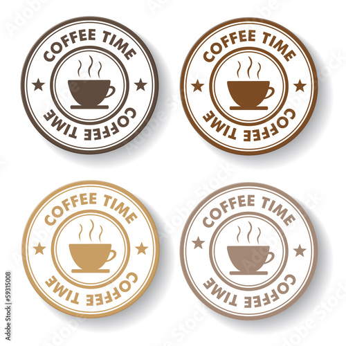 Coffee Time Stamp Labels
