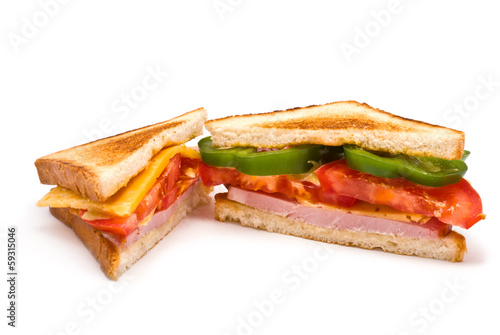 Two Sandwiches isolated on white