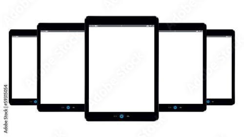5 black tablet pc computer isolated on white