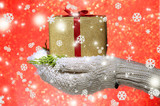 Female hands  in mittens with gift box,  on color background