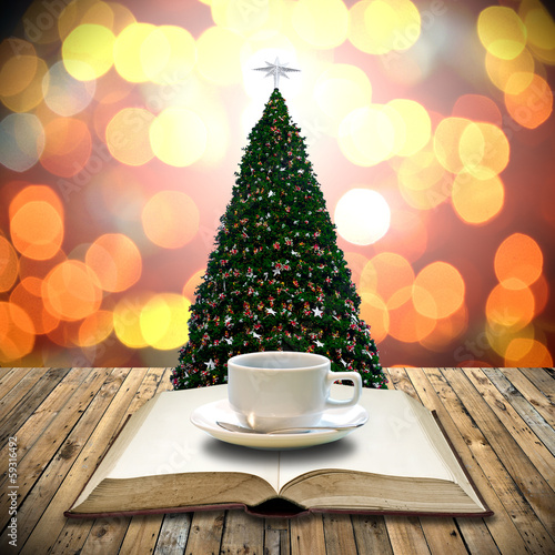 Drink coffee with bible in Christmas day
