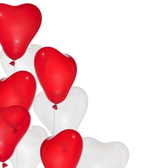 angle from red and white heart shape balloons