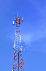 Antenna tower over blue sky