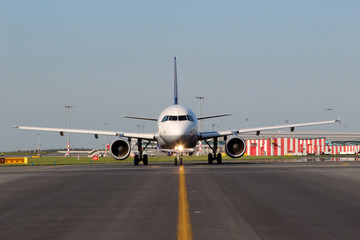 Aircraft taxiing on the runway
