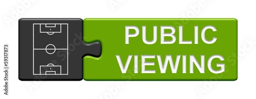 Leinwandbild Motiv Puzzle-Button grau grün: Public Viewing