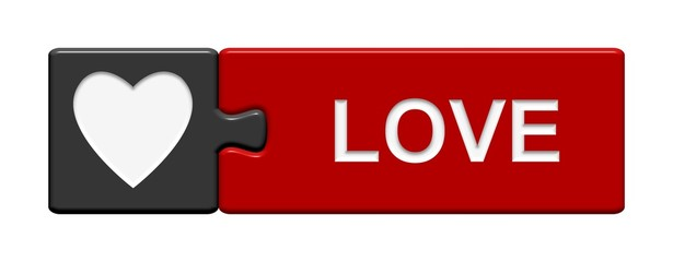 Puzzle-Button grau rot: Love