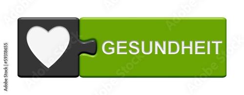 canvas print picture Puzzle-Button grau grün: Gesundheit
