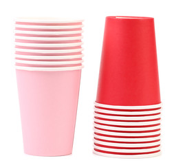 Two stacks of paper cups.