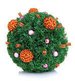Christmas fir-tree ball with decoration isolated on white