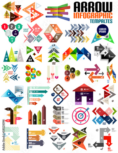 Set of geometric shape arrow info templates