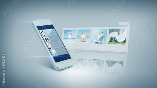 white smarthphone with video on screen