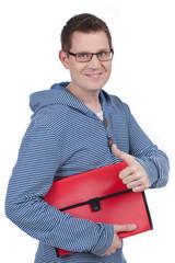 Junger Mann mit Bewerbungsmappe - young man application